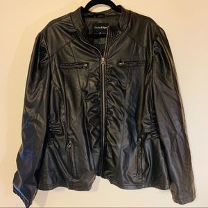 Faux leather jacket- with Gathering